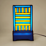 Stained Glass Lamp in Orange and Blue