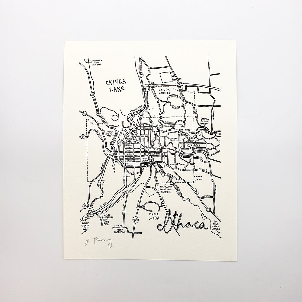 Ithaca Map Letterpress Print