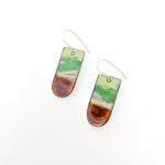 Earring Enamel Green & Brown