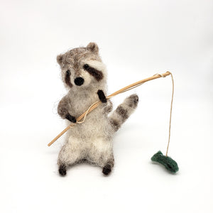 Load image into Gallery viewer, Felted Raccoon Fisherman