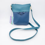 Cross-body Blue Vegan Leather Purse
