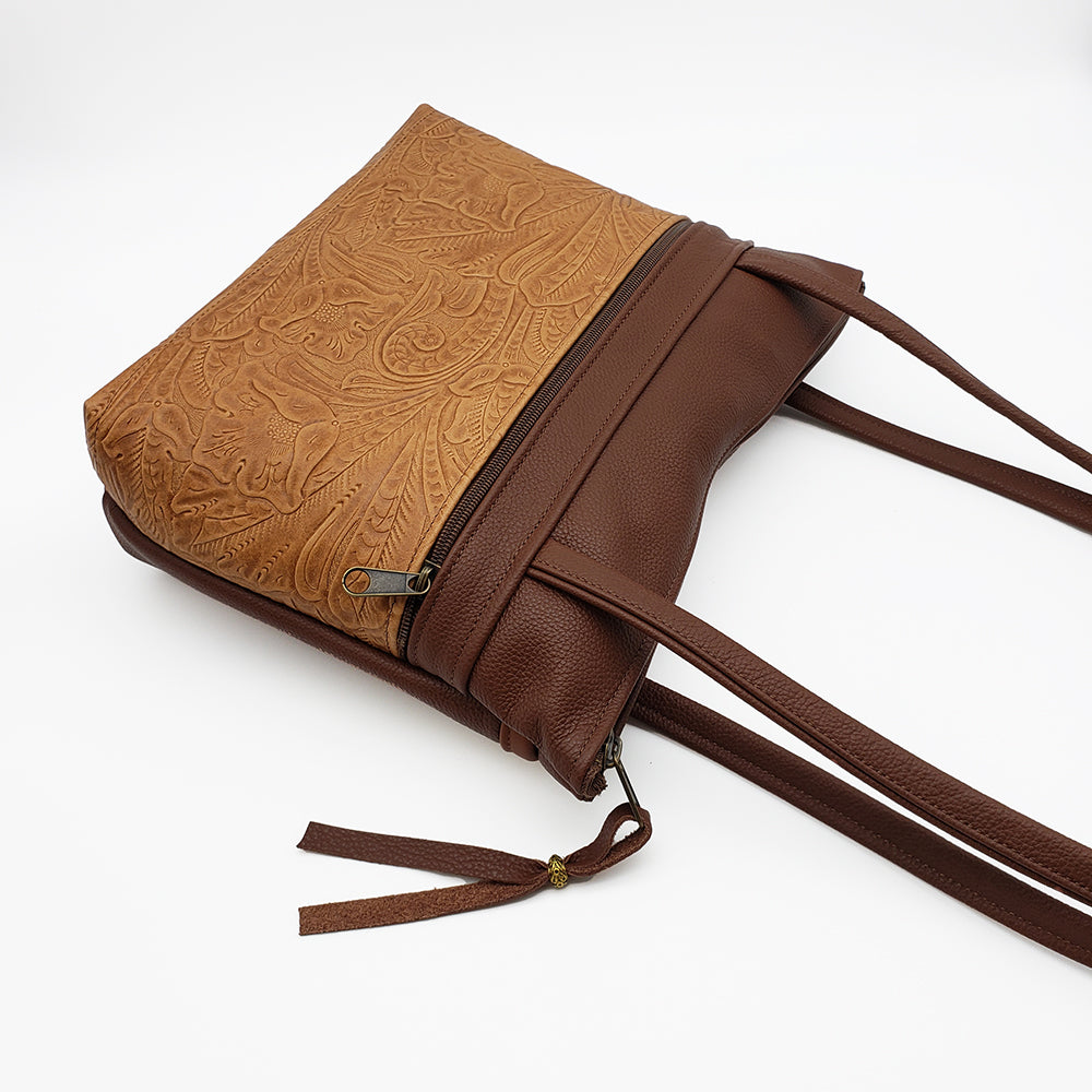 Shoulder Bag Brown Embossed Leather