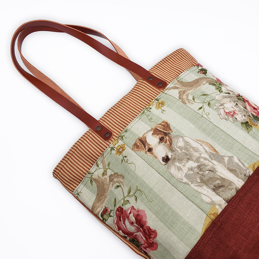Terrier Tote With Leather Handles