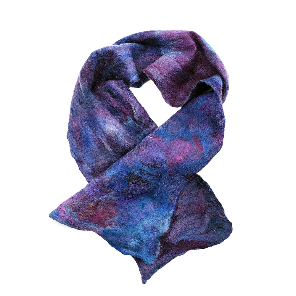Purple Blue Wool Silk Scarf