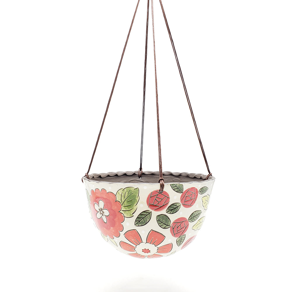Hanging Planter With Red Florals