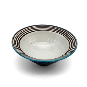 Serving Bowl in Teal and Black