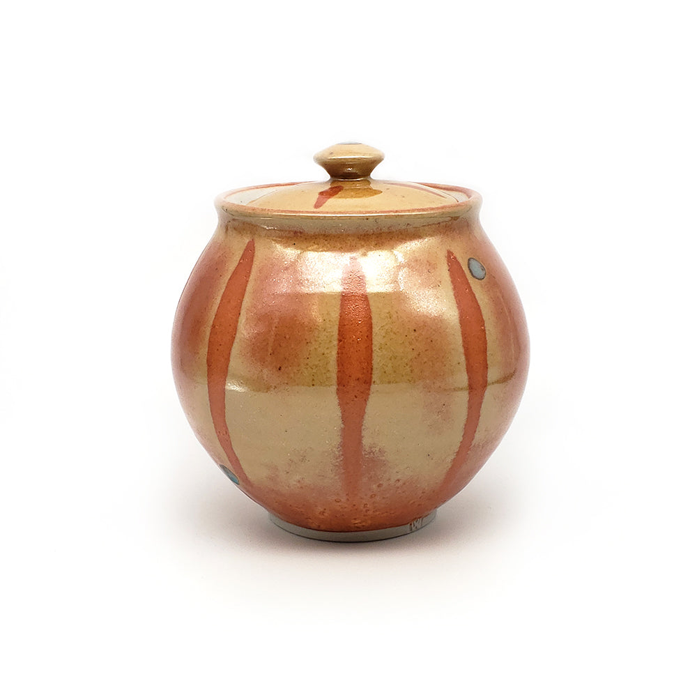 Orange Striped Jar With Cover