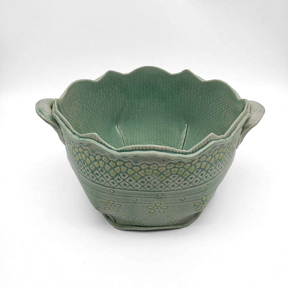 Blue Lace Bowl With Handles