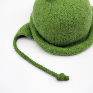 Green Felted Hat With Earflaps For 3-6 Months