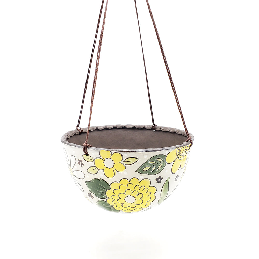 Hanging Planter With Yellow Florals