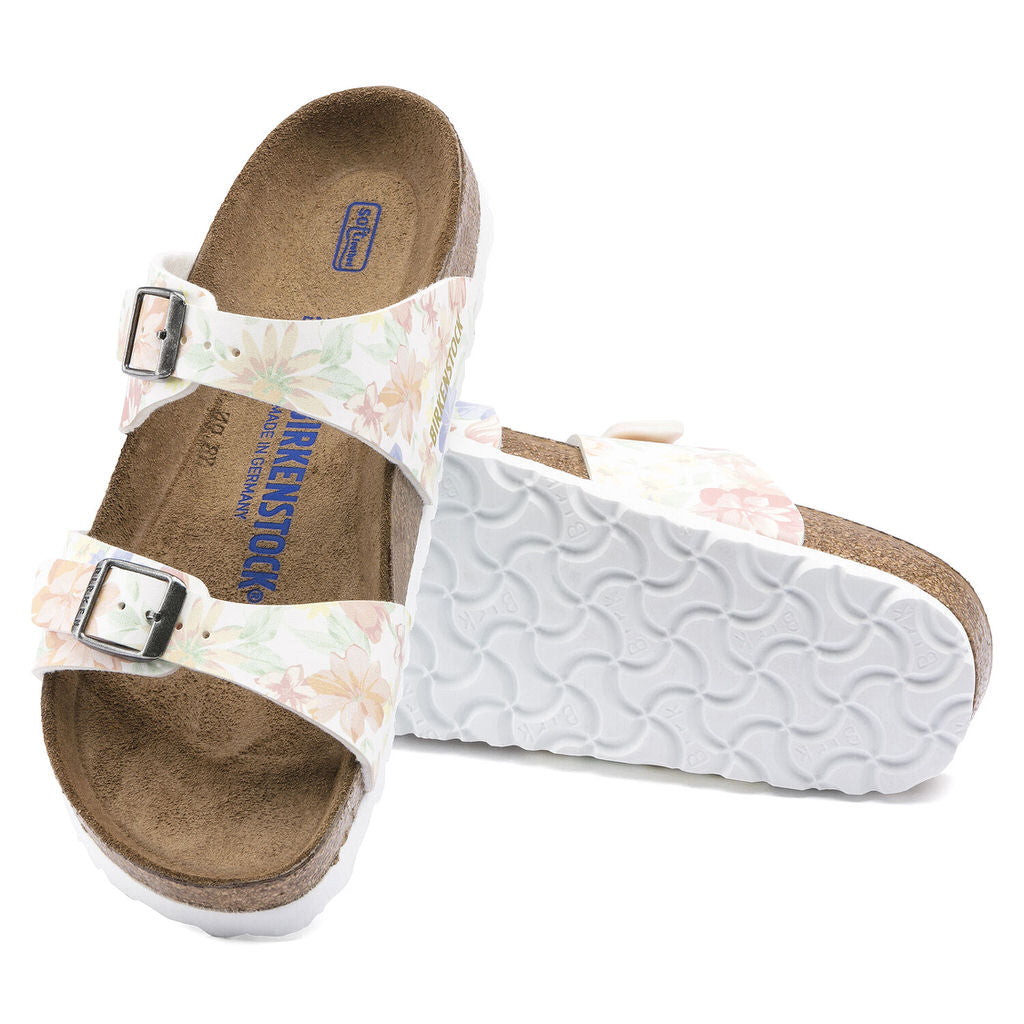Sydney Birko Flor Soft Footbed (Narrow) - Flowers White - 1016135