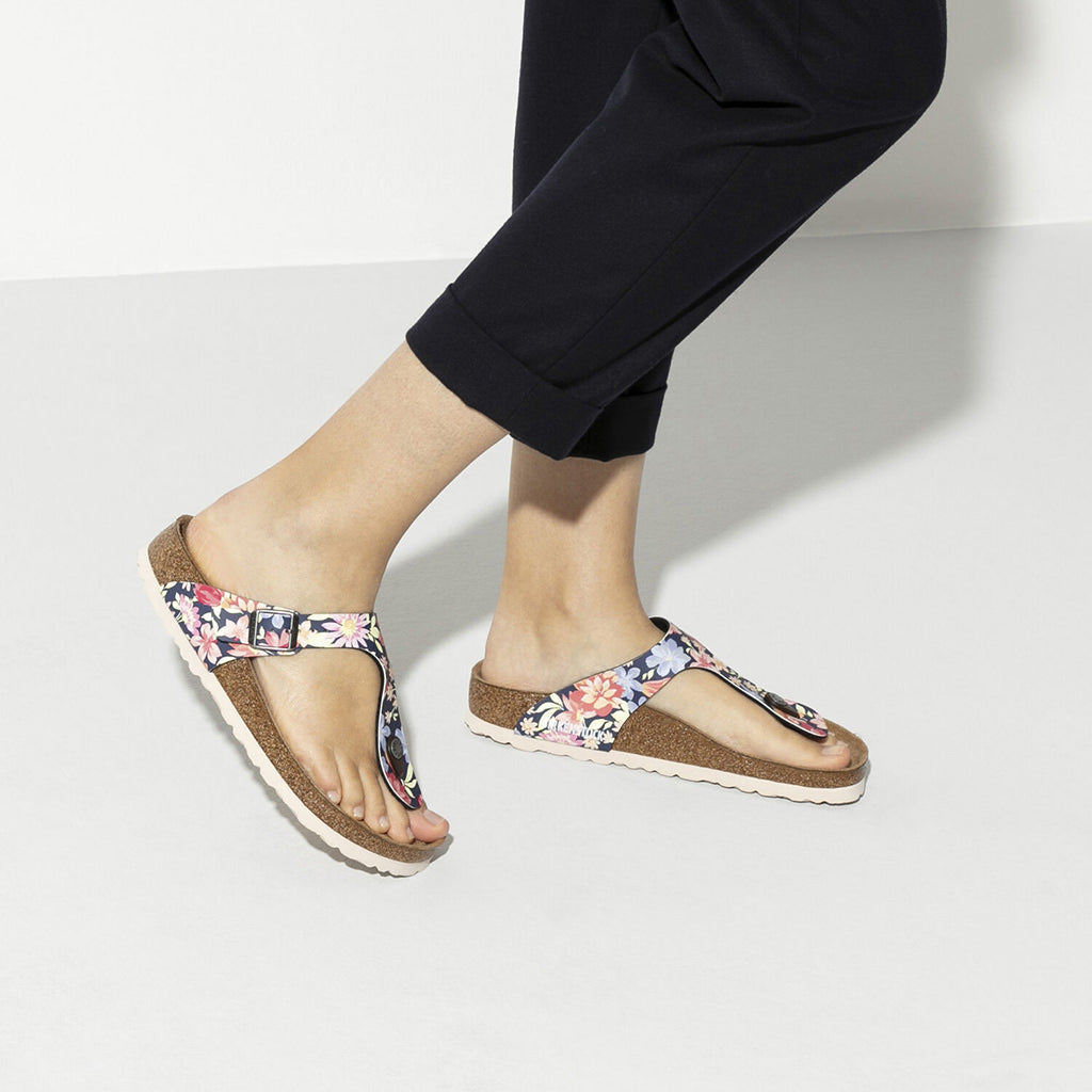 Gizeh Birko Flor Soft Footbed - Flowers Navy - 1016136