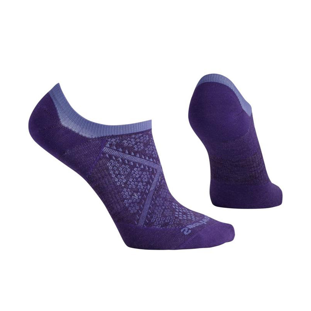Womens PhD Run Ultra Light No Show Socks - Mountain Purple