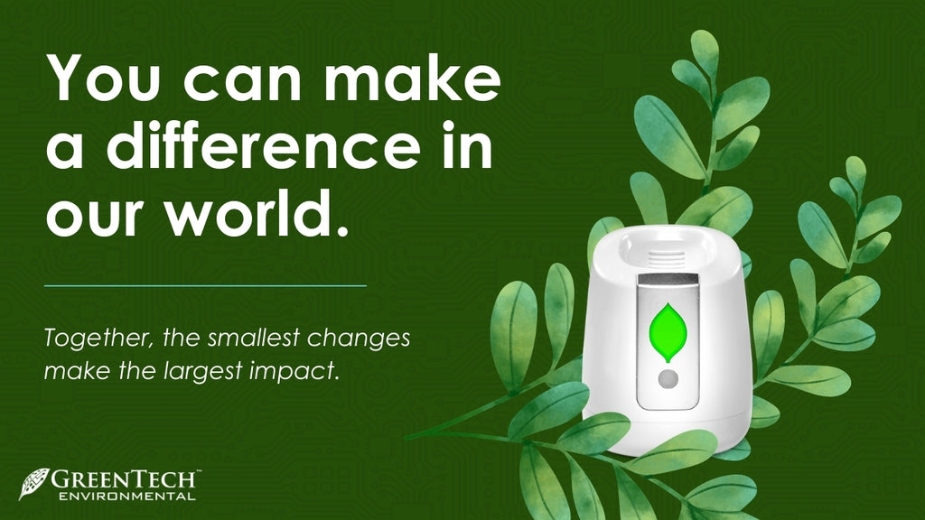 """pureAir FRIDGE in green leaves on darker green background with text """"You can make a difference in our world"""""""