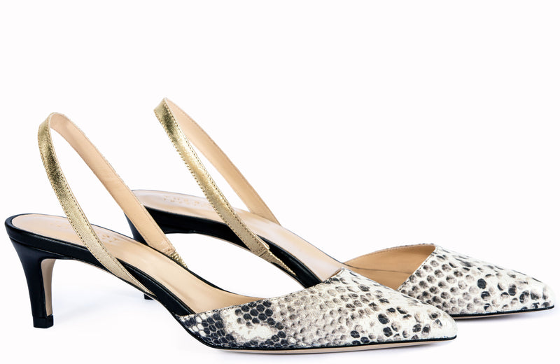 PRAGUE SLINGBACK SNAKE AND GOLD METALLIC LEATHER by Joana Freitas