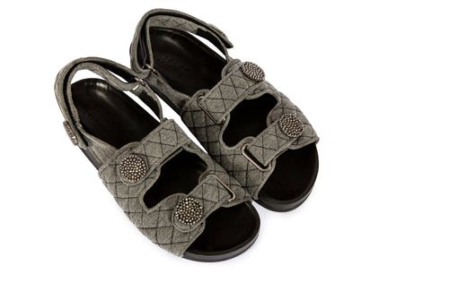 MALTA GREY DENIM VELCRO SANDALS