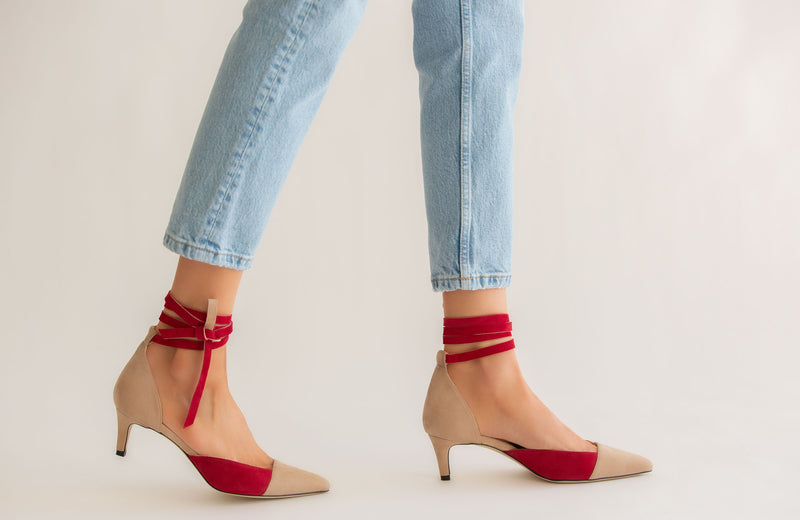ROME RED AND NUDE SUEDE ANKLE TIE SANDALS