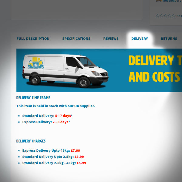 Delivery time frames and costs