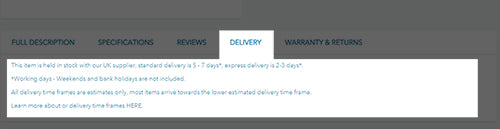 Delivery Tab - Spare and Square