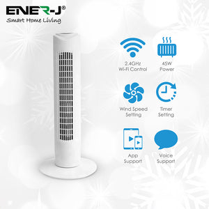 "Smart Wifi Tower Fan - Works With Alexa And Google Home - 32"" - Quiet Operation - Smart Home"