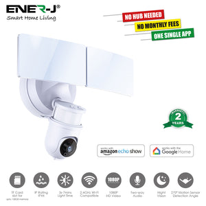 Smart Wi-Fi LED Floodlight Security Camera System - White - 1080p, Works With Alexa And Google Assistant