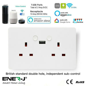 Smart WiFi Double Socket With USB - Designed To Be Used Using Your Voice, Touch Or Mobile - Smart Home