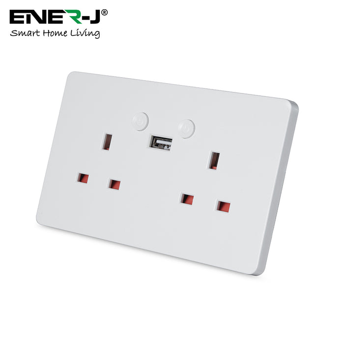 Smart WiFi Double Socket With USB - Designed To Be Used Using Your Voice, Touch Or Mobile