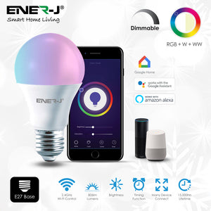 Ener-J Smart 8.5W LED RGB CCT Changing & Dimmable Lamp - E27 - Pack of 3