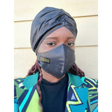Black Bazin Beanie and Facemask Set - Nganoh