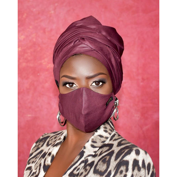 Red Wine Turban and Face Mask Set - Nganoh