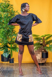Dashiki Black T-shirt Dress - Nganoh