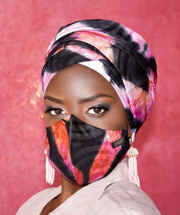 Pink and Black Tie Dye Turban and Facemask set - Nganoh