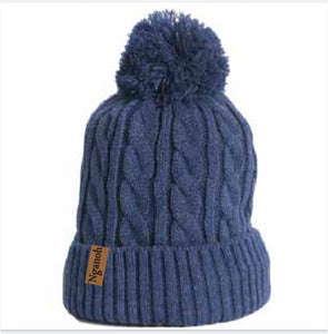Mojo Cable Knit Beanie - Blue - Nganoh