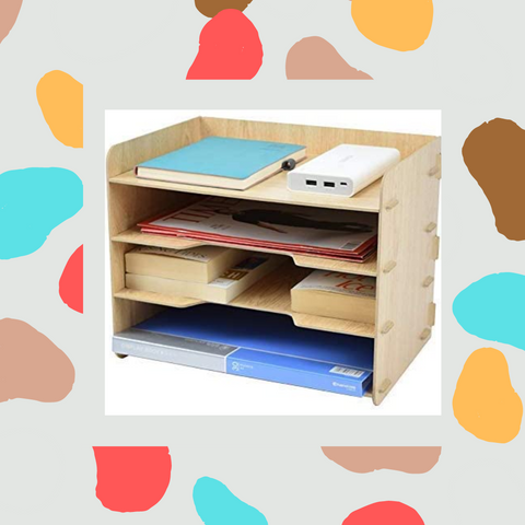 TWOHANDS Letter Tray & Stacking Supports - Paper Tray - 4 Tier Desk File Organizer and Storage for Students - School & Office Supplies - File Holder for Desktop - A4 Paper Rack(1 Pack)