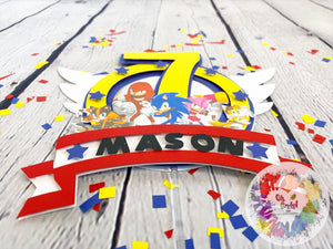 Sonic the Hedgehog and Friends Cake Topper | Sonic Theme Birthday Decor | Sonic Birthday