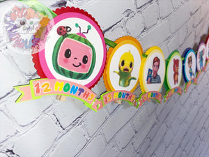 Cocomelon Baby's First Year Monthly Banner | Newborn to 12M | Milestone Banner | Cocomelon Birthday
