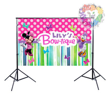 Load image into Gallery viewer, Minnie's Bowtique Backdrop | Minnie Mouse Birthday Party | Minnie Mouse Party Decor | Minnie Mouse | Minnie Mouse Decorations