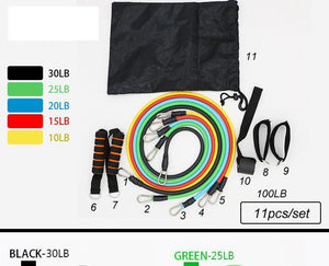 Resistance Band Kit 11pcs/Set - Latex Resistance Bands Gym Door Anchor Ankle Straps With Bag Kit Set Yoga Exercise Fitness Band Rubber Loop Tube Bands