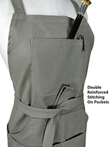 "Sturdy Thick Professional Artist Apron, Cross Back + Fasten/Quick Release Buckle + 6 Pockets with 1 Zipper Pocket + 2 Towel Loops For Artist Kitchen, Adjustable M to XXL, 27""X31"" - 100% Cotton Canvas"
