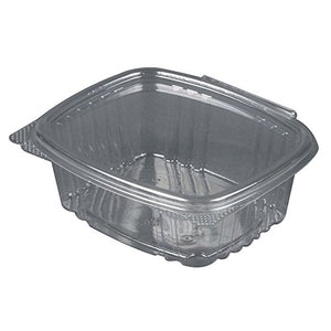 "Genpak's AD16 | 16oz Clear PET Hinged Deli Container | Recyclable, Made with up to 30% Post-Consumer Content, BPA Free, Made in The USA | 5.50"" x 4.88"" x 2.50"" Case Count 200"