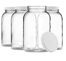 Load image into Gallery viewer, Paksh Novelty 1-Gallon Glass Jar Wide Mouth with Airtight Plastic Lid - USDA Approved BPA-Free Dishwasher Safe Mason Jar for Fermenting, Kombucha, Kefir, Storing and Canning Uses, Clear (4 Pack)