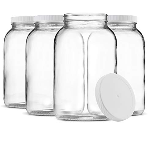 Paksh Novelty 1-Gallon Glass Jar Wide Mouth with Airtight Plastic Lid - USDA Approved BPA-Free Dishwasher Safe Mason Jar for Fermenting, Kombucha, Kefir, Storing and Canning Uses, Clear (4 Pack)
