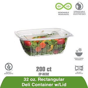 Eco-Products - Renewable & Compostable Rectangular Deli Containers - 32oz. - Case of 200 (EP-RC32)
