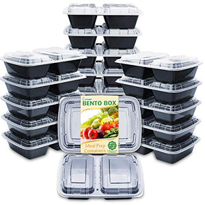Enther Meal Prep Containers [20 Pack] 2 Compartment with Lids, Food Storage Bento Box | BPA Free | Stackable | Reusable Lunch Boxes, Microwave/Dishwasher/Freezer Safe, Portion Control (32 oz)…