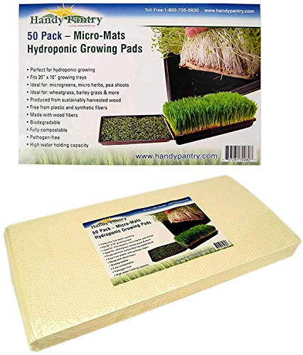 Handy Pantry Micro-Mats Hydroponic Grow Pads - for Organic Production - 50 Pack - Plant & Seed Germination: Wheatgrass, Microgreens, More - for 20
