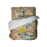 CALIFORNIA SURF STICKERS SURFER BEDDING SET