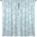 BABY BLUE HAWAIIAN STYLE CURTAINS WITH HONU SEA TURTLES, UKULELES AND HIBISCUS