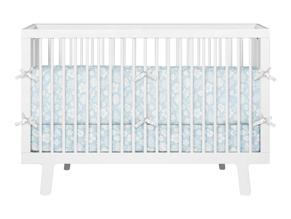 BABY BLUE SEA TURTLES ,HIBISCUS AND UKULELES HAWAIIAN STYLE CRIB BEDDING FROM SURFER BEDDING