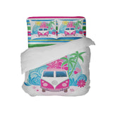 vw bus inspired comforter and pillowcases with beach stripe sheets from surfer bedding