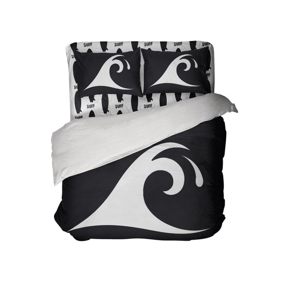 Surfer Bedding™ Black and White Epic Wave Eco Friendly Comforter Set from Extremely Stoked